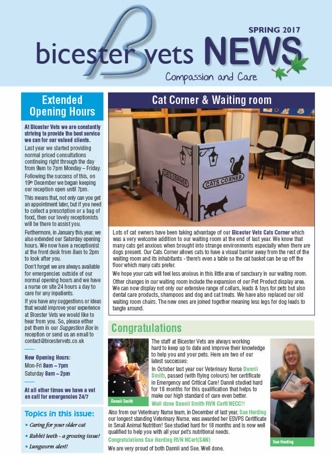 Bicester Vets Spring newsletter