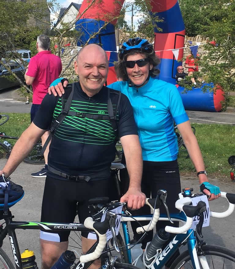 Jason & Catie Bicester vets sponsored charity bike ride 12th June 2019